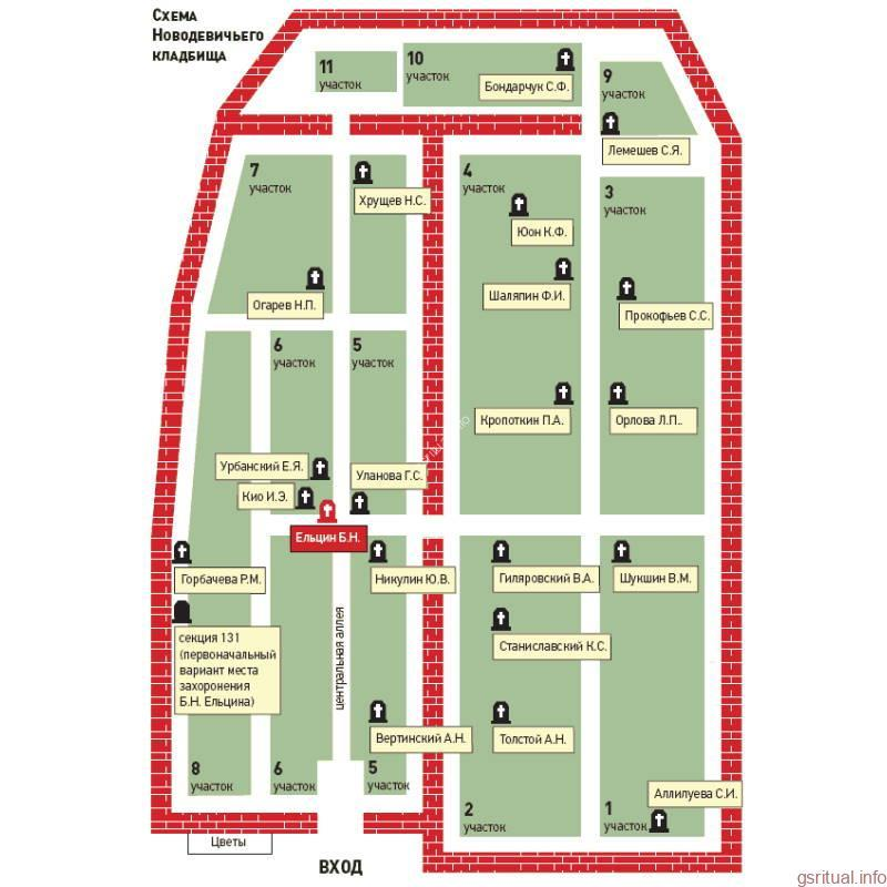 Новодевичье кладбище карта схема